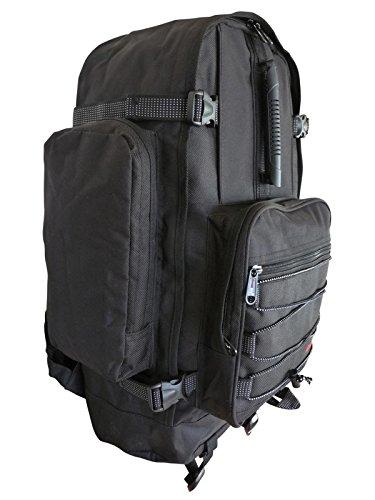 Roamlite Zaino da Campeggio Grande Unisex- 50 a 55 Litri Ideale come Bagaglio a Mano. Perfetto per Escursionismo,Viaggio e Vacanze. Dotato di varie Tasche e Scomparti. Colore Nero