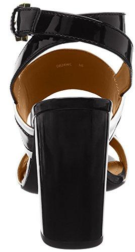 Geox D Audalies High, Sandali con Cinturino alla Caviglia Donna, Nero (WhiteBlack), 39 EU ⋆ Fashionforstyle.it