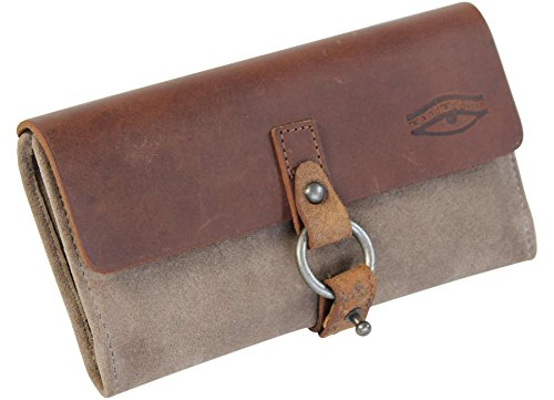LandLeder Land´s & Leather Vollrindleder Kuvertbörse Wickelbörse grün-braun