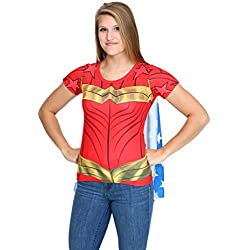 Wonder Woman Women's Sublimated Cape Costume Tee Shirt - Small