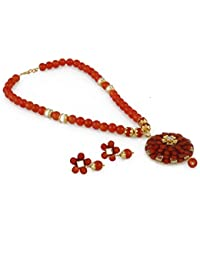 Aradhya Designer Orange Fashion Beads And Square Kundan Necklace Set With Earrings For Women And Girls