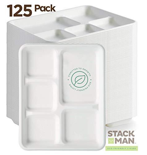 Stack Man 100% kompostierbarer Pappteller, 125 Stück, 5 Fächer, Bagasse, Schule, Lunch-Tablett, strapazierfähig, hochwertig, umweltfreundlich aus Zuckerrohrfasern