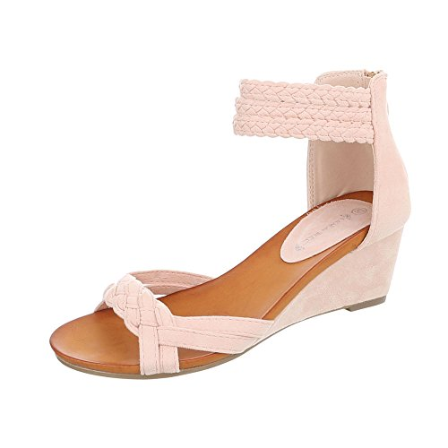 Keilsandaletten Damen-Schuhe Keilsandaletten Keilabsatz/ Wedge Keilabsatz Reißverschluss Ital-Design Sandalen & Sandaletten Pink, Gr 39, C7113-