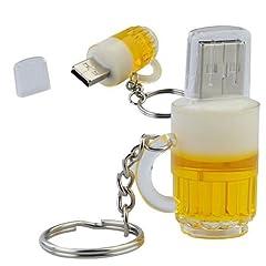 Idea Regalo - Bicchiere di Birra 8 GB - Beer Glass - Chiavetta Pendrive - Memoria Archiviazione dei Dati - USB Flash Pen Drive Memory Stick - Giallo e Bianco