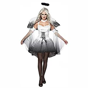 Women Halloween Angel Costume with Wings Headband Fancy Dress Demon Cosplay Uniforms Outfits ...