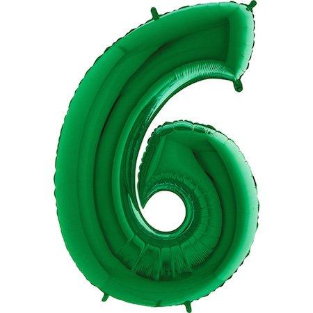 GRABO Decoración del globo del número verde gigante '6' - Artículos de fiesta