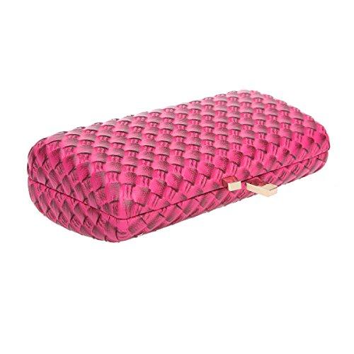Bonjanvye Kiss Lock PU Leather Weave Handbags For Women Blue Rose