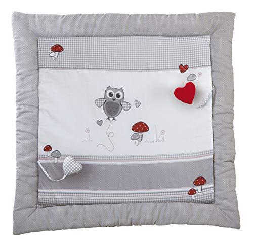 roba Spiel- & Krabbeldecke 'Adam & Eule', Baby's gepolsterte Spielunterlage/Laufgittereinlage 100 x 100cm, 100% Baumwolle, inkl. Baby-Spielzeug, mehrfarbig