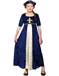 Girls Regal Princess Costume Fancy Dress Up Party Halloween Medieval Kids (11-13)