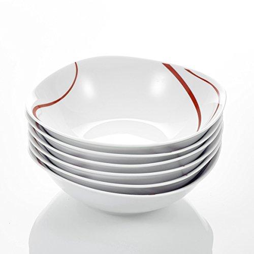 Malacasa Série Felisa 6pcs Bols à Céréales Porcelaine 17cm Céramique Blanc Crème 17*17*5 cm Service Petit Déjeuner