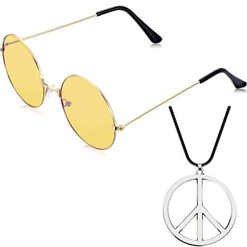 Mimiga Sonnenbrillen Hippie Runde Sonnenbrille Und Antikriegs Friedenszeichen Halskette 60er Jahre Hippie Set