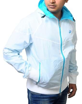 Nike Men's FL PUNCH HOLE Retro Wind runner Hooded Sportswear Jacket/Coat XL White-Blue