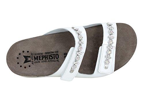 MEPHISTO HERMINE, BLACK, VERNIS 1100, SANDALO CIABATTA CON STRAPPO Bianco