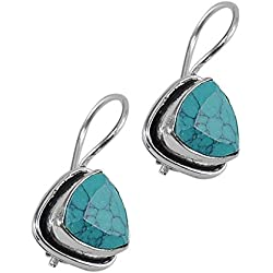 Silvesto India Turquoise Manmade Gemstone 925 Silver Plated Earring For Women & Girls Pg-25405