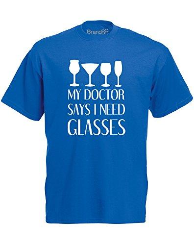 Brand88 - My Doctor Says I Need Glasses, Mann Gedruckt T-Shirt Königsblau/Weiß