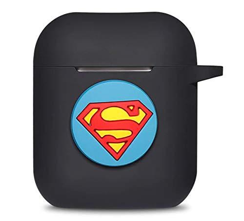 Onix Store Housse en Silicone Noire pour Airpods avec Superman Logo Bleu