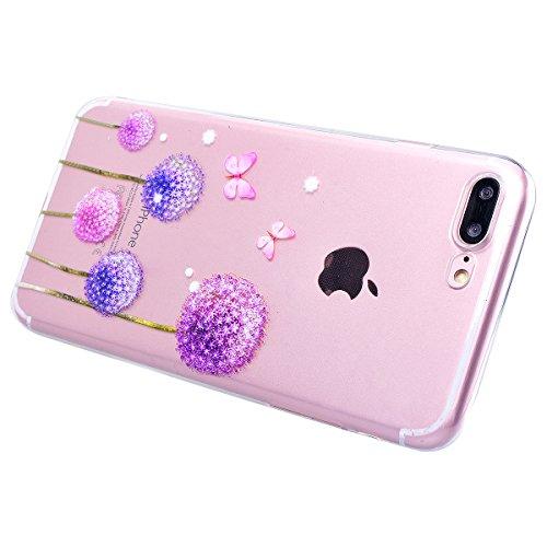 HB-Int Handytasche für iPhone 7 Plus Silikon Back Hülle Transparent Schutzhülle 3D Blumen Muster mit Lanyard Loch Flexible Case TPU Bumper Protective Shell Schmetterling Pusteblume