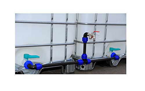 VOXTRADE Verbindungsset Fuer IBC Tanks mit Schwanenhalsaußlaß zum Befüllen von Gießkannen (Set für 2 Tanks)