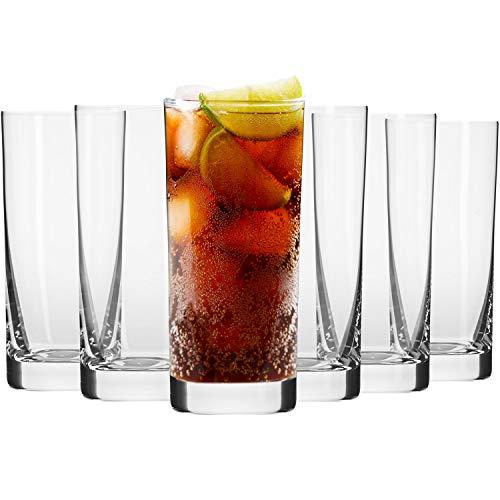 Krosno Longdrinkgläser Wassergläser Trinkgläser | Set von 6 | 350 ML | Blended Kollektion | Perfekt für Zuhause, Restaurants und Partys | Spülmaschinenfest