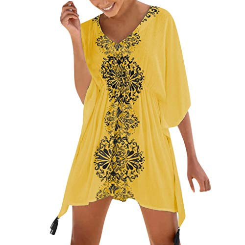 Damen Strandkleid Sommerkleid Bikini Cover Up Sommer Bademode Longshirt Tunika Strandponcho Sommer Bikini Badeanzug Quasten Strand Hemdkleid Einheit Größe Kleidung von Rosennie -