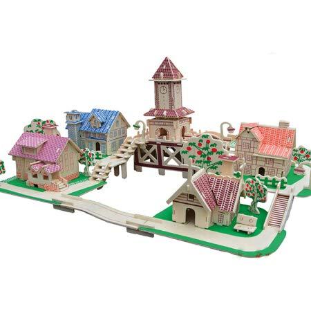 Stereo 3D Puzzle China World Alte Gebäude Farbe Holz DIY Holz Handmade Puzzle Simulation Modell Kinder Bausteine   Montage Spielzeug Europäischen Romantische Stadt Allianz China