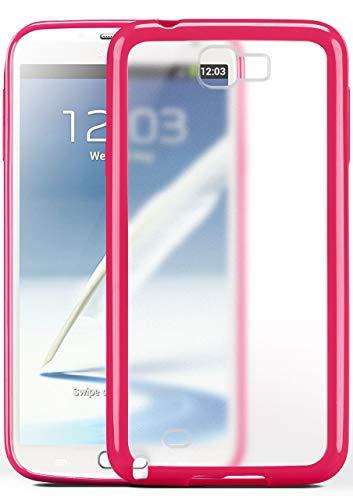 moex Samsung Galaxy Note 2   Hülle Slim Transparent Rosa Impact Back-Cover Dünn Schutzhülle Silikon Handy-Hülle für Samsung Galaxy Note 2 Case TPU Tasche Matt