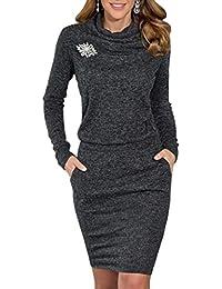 emmarcon Elegante Abito Vestito Invernale in Maglia Donna Maxi Maglione Collo Alto