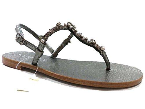 Eddy daniele 37 eu sandali donna gioiello grigio scuro pelle/cristalli swarovski ax870