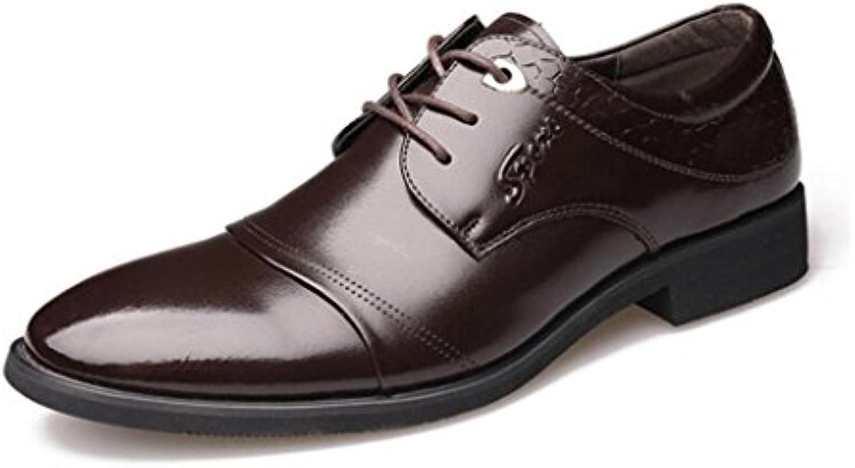 LEDLFIE Herren Echtleder Schuhe Business Formelle Kleidung Mode Lace up Schuhe Herrenschuhe