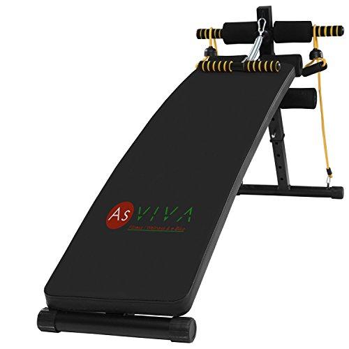AsVIVA A2 Bauchtrainer & Bauchmuskeltrainer - das Fitnessgerät inkl. Gummibänder und Crunsher für das Workout, Sit Up Bank