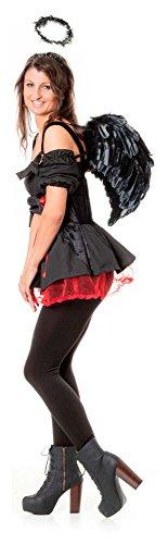üm schwarzer Engel 4 tlg Flügel dark angel Todesengel Horror Tod Halloween Gothic Karneval Groesse: L/XL (Dark Angel Kostüm Für Frauen)