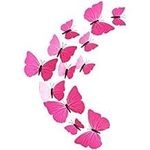 OUNONA Imanes de Nevera Mariposas Pegatinas Pared Rosa Roja 12 Unidades
