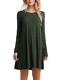 Saoye Fashion Vestiti Donna Eleganti Corti Vintage Moda Manica Lunga  Rotondo Collo Tinta Unita Larghi Casual Autunno Invernali T-Shirt… 19c94246463