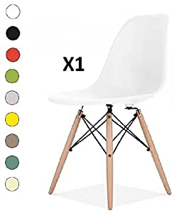 Millhouse Eiffel Chairs Retro Side Dining Office Lounge Chair (White, 1)