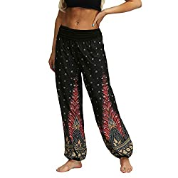 Männer Frauen Beiläufige Lose Hippy Yoga Hose Baggy Boho Aladdin Pants (M,3Rot)