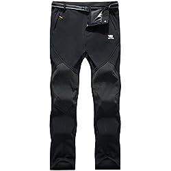 Los pantalones al aire libre de los hombres que son de fleece impermeable de c¨¢scara blanda 815A Negro M