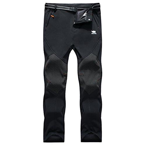 Los pantalones al aire libre de los hombres que son de fleece impermeable de c¨¢scara blanda 815A Negro L