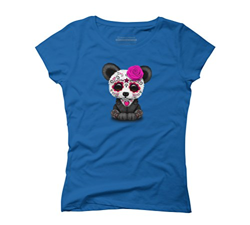 Pink Day of the Dead Sugar Skull Panda Women's Graphic T-Shirt - Design By Humans Royal Blue