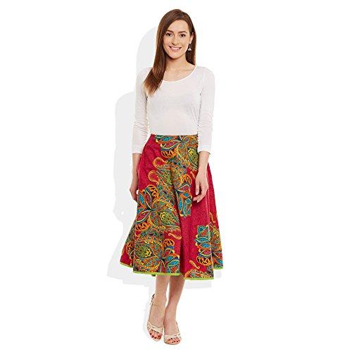 Damen Bekleidung Baumwolle gedruckt mittellanger Rock a-Linie Multicolor rot