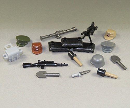 Custom WW2 Waffen Set 17 Teile Mützen Helme Waffen Sandsäcke für LEGO® (Custom Piraten)