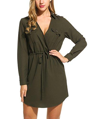 ACEVOG Damen Kleid mit Tunnelzug und Umlegekragen Langarm Cache-Coeur Ausschnitt casual Freizeitkleid Blusenkleid Hemdkleid