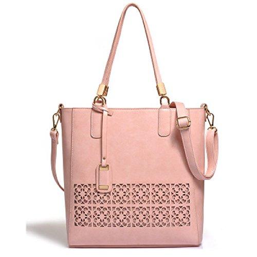 Damen-Tasche Einfache Hohle Schultertasche Große Tasche Handtasche Messenger Bag Elegant Hollow Pattern Brown