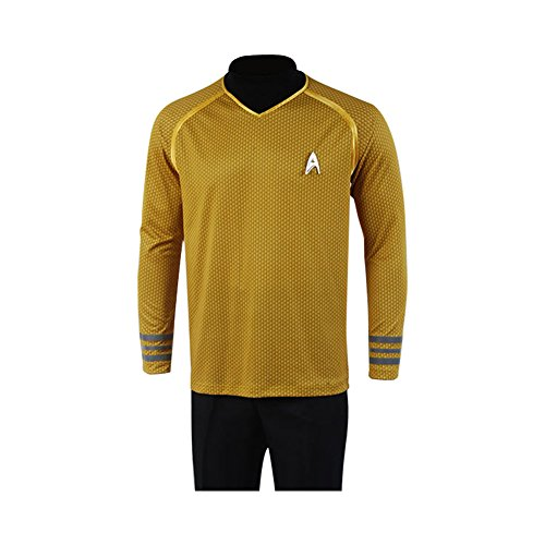 Kirk Trek Kostüm Shirt Captain Star - Jeylu Star Trek Captain-Kirk-Kostüm/Uniform, Gelb Gr. X-Large, gelb