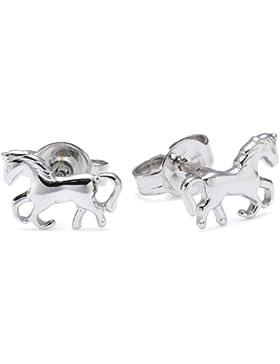 Xaana Kinder-Ohrstecker Pferde glanz rhodiniert 925 Sterling Silber AMZ0066