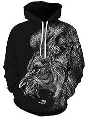 Idea Regalo - TUONROAD Felpe con Cappuccio Uomo Leone 3D Stampato Hoodie Unisex Pullover Sweatshirt con Tasche Coulisse Felpe Uomo - S/M