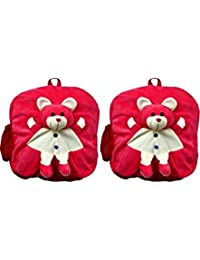 MGP Dark Pink Teddy Nursery Play Kids School Bag-Set Of 2