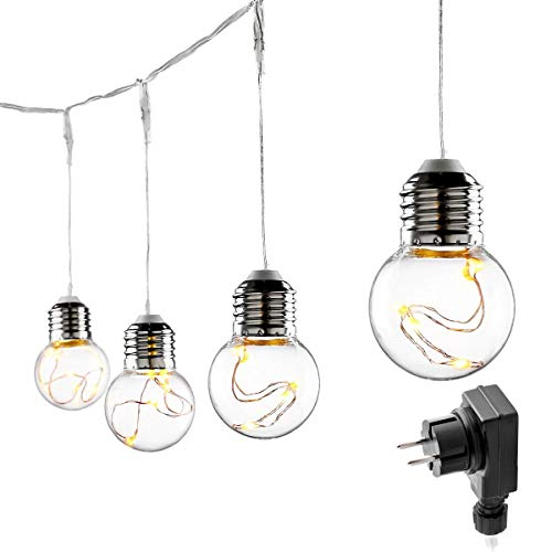 LE Lighting EVER Guirlande Lumineuse Guinguette 6m, 25 Ampoules G45, Blanc Chaud, Etanche pour Décoration, Mariage,...
