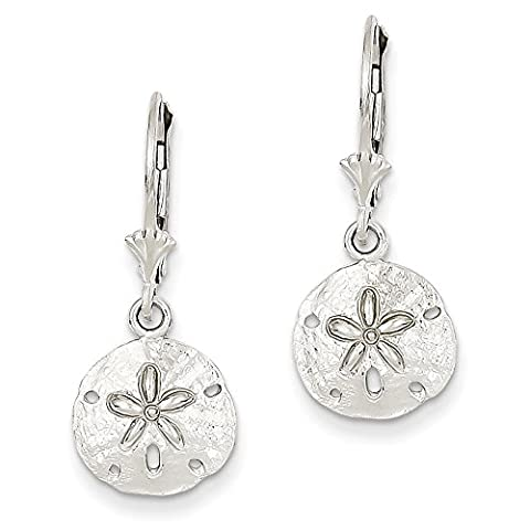 14ct White Gold Sand Dollar Leverback Earrings