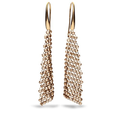 Spark Pendant Swarovski Elements–Boucles d'oreilles pendantes Femmes–Argent 925, 188Cristaux Swarovski par boucle d'oreille Doré