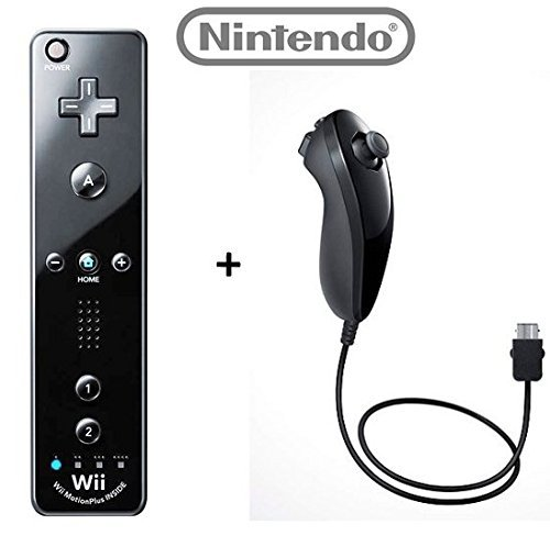 Official Nintendo Wii/Wii U Remote Plus Controller and Nunchuk Nunchuck Combo Bundle Set [Black] (Bulk Packaging) - Remote Wii Und Nunchuck Original